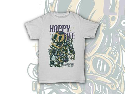 Happy Life dope template dark moustache machine techno robot steampunk skull