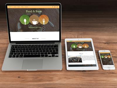 Food and Brew Restaurant Web Design promo bootstrap restaurant design web