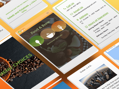 Food and Brew responsive web pages wireframes responsive food restaurant