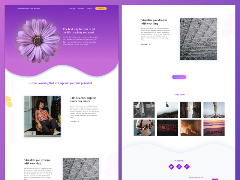 Life Coaching landing page design purple life coaching web design sketch landing page ui responsive design wireframes