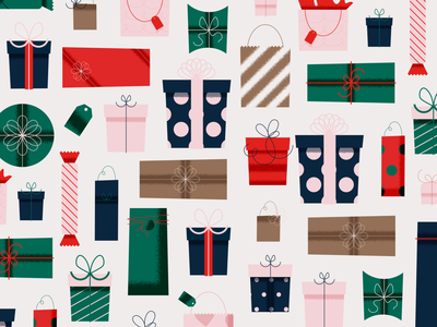 Holiday Gift Pattern vector texture winter holiday christmas presents bows pattern shopping gifts
