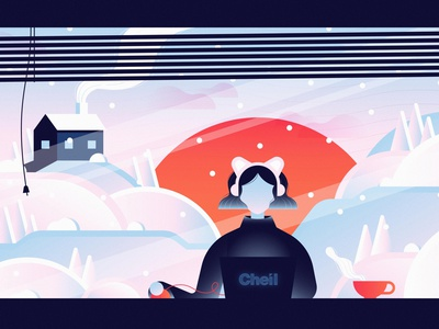 Lofi Beats to Cheil To winter music cat laptop technology computer snowflake snow christmas holiday