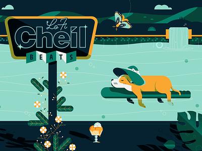 Lo Fi Cheil Beats lofi beats music video animation design illustration sign neon vintage chill water plants fall summer moth pool pup puppy dog