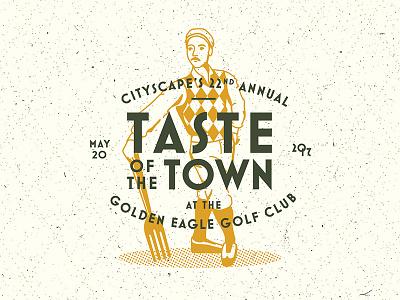 Taste that town vector illustration badge type logo argyle club food golfer retro golf vintage