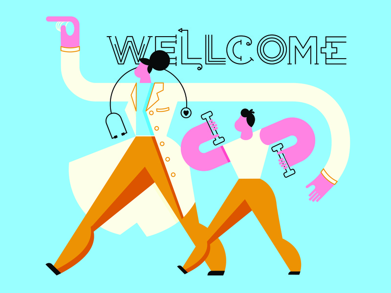 Wellcome mural welcome doctor exercise work out medical illustration