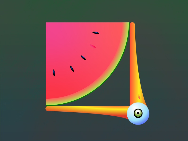 Eating watermelon colorfull drawfromadistance melon eating digital illustration vectorart illustration gradient illustrator vector watermelon beak duck