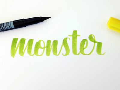 Monster Hand-Lettering Sketch custom type lyra brush pen calligraphy lettering monster halloween sketch practice hand-lettering