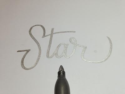 Star - Lettering Practice hand-lettering hand lettering pen brush pen sharpe shine star calligraphy logo-type type lettering