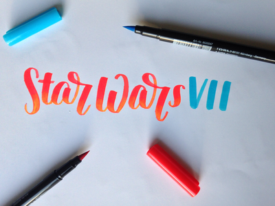 Star Wars VII - Hand-Lettering Practise typography brush pen tombow calligraphy hand lettering new hand-lettering the force awakens star wars 7 star wars lettering