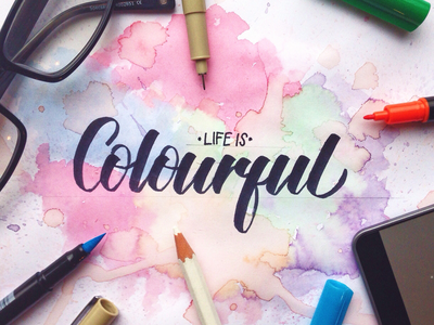 Life Is Colourful! Lettering Practice handwriting pen brush-pen brush calligraphy typography creative art watercolour type letter lettering