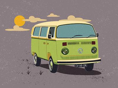 Ride On life style van life texture illustration 60s retro vw van