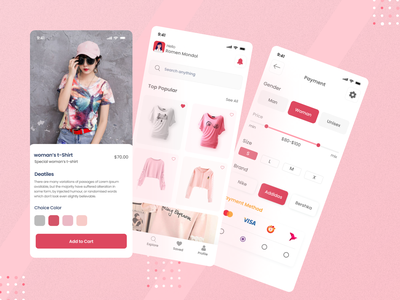 Online Shop - Mobile Apps brand women style model online store fashion apps ui design uiux ui card bussines mobile mobile ui mobile app mobile app design clothes shop shopping cart fashion fashion design