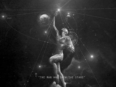 """The man who drew the stars"" white black gray darkness light drew statue man space stars"