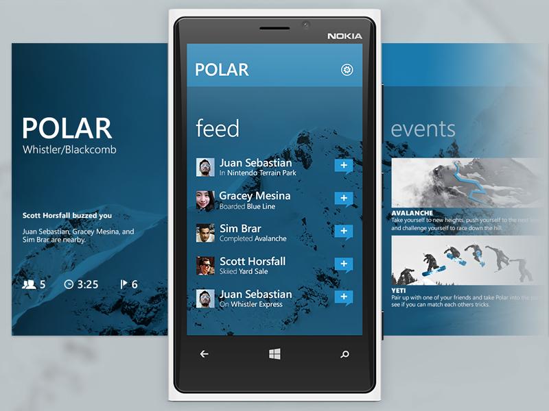 Polar - Panorama ui windows phone mobile interface sfu siat metro panorama polar blue