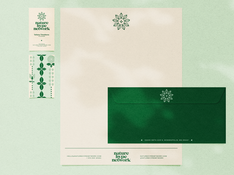 Nature Hype Network Stationery simple modern branding and identity green branding leaf logo leaves leaf letterhead business card stationery branding design branding