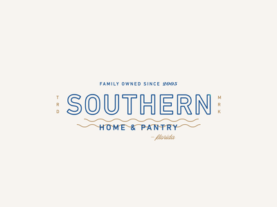Southern Home & Pantry lockup outline simple modern waves vintage logo