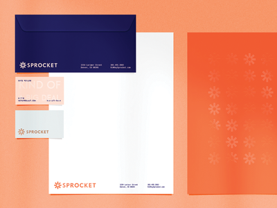 Sprocket Stationary simple logo minimal sprocket gear pattern color palette blue orange modern stationary logodesing business card stationary