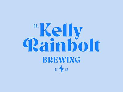 Dr. Kelly Rainbolt Brewing blue craftbeer brewery beer brand design serif modern simple design wordmark logo