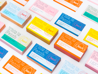 Fetch Business Cards design logo wordmark monoline denver simple minimal type typography paper modern collateral business cards color colorful