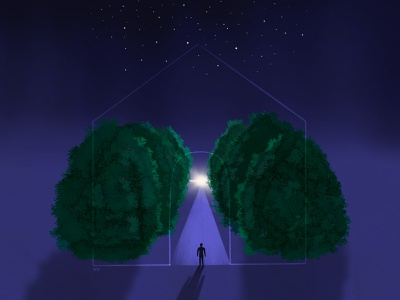 Stay Home horizon night stars trees home concept art concept ideas digital illustration digital art stay safe stay home covid-19 procreate art drawing illustrator illustration