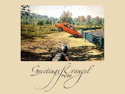 Greetings from Erangel digital world gaming car screen postcard videogame player unknowns battlegrounds plunkbat pubg