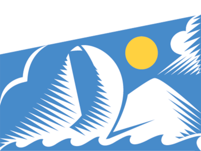 Odyssey Logotype odyssey yellow blue sky waves storm cloud mountain bird sail sun logotype