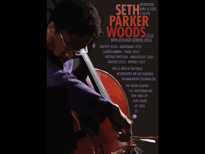 Seth Parker Woods Poster hand music expression futura typography movement cello poster