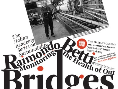 Monitoring the Health of Our Bridges engineering poster black and white photograph type white black red bridge