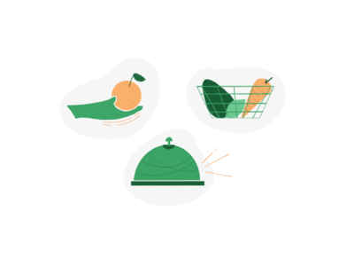 Illustration for Food Sharing App procreate social sharing avocado ding bell basket illustration app food