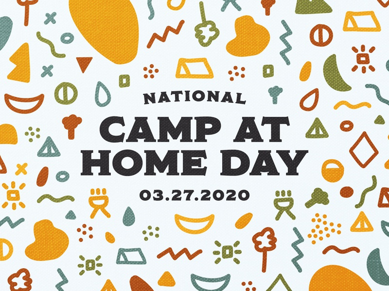 National Camp at Home Day stay at home covid19 quarantine vector branding illustration texture outdoors pattern icons moon hammock grill tent tree kammok national camp at home day