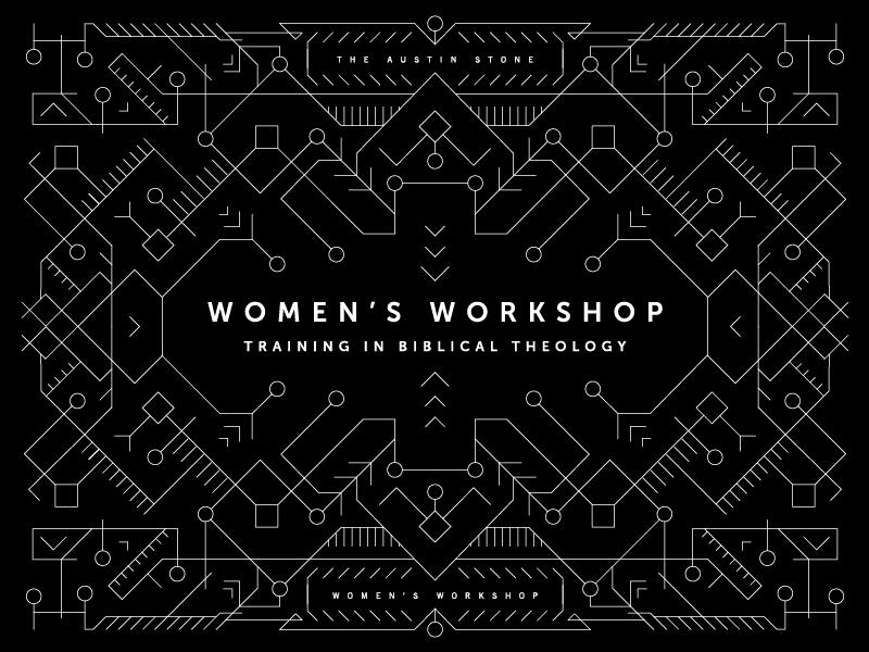 Women's Workshop Branding vector connected woven textile pattern monoline lines branding workshop womens