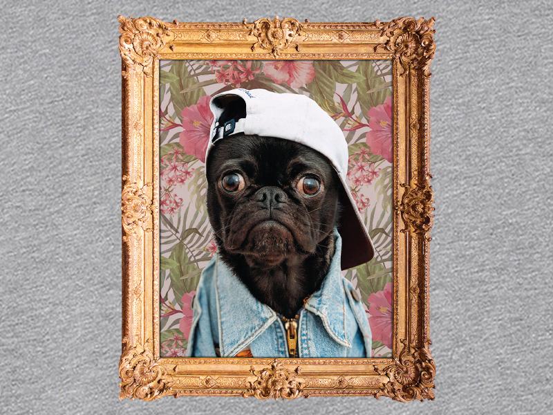 Thug Pug - A Kickstarter Make/100 exclusive animal photoshop texture apparel sweatshirt floral gold frame gang pug thug