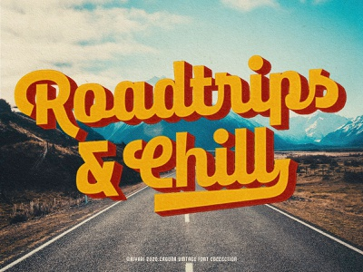 Roadtrips and chill! laguna vintage design logo hand lettering opentype display vintage script retro open type typeface aiyari