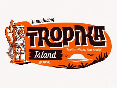Tropika Island hand lettering display vintage script serif retro open type tropic interlocking interlock display font typeface tropical tropika island aiyari