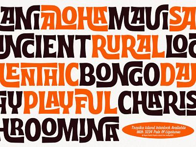 Tropika Island Interlock midcentury tiki funk hand lettering vintage script retro open type typeface typography interlock tropical font display font tropika island aiyari