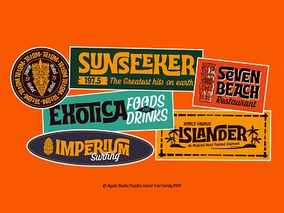 Retro Bumper Sticker midcentury tiki groovy funk hand lettering vintage script retro open type typeface interlock font display tropical font tropika island aiyari