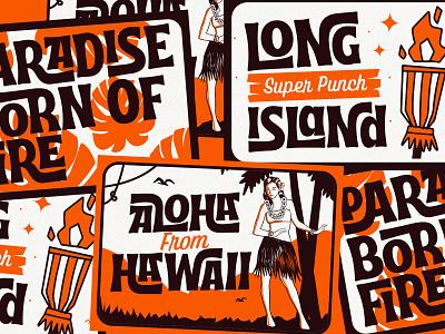 Retro Postcard postcard aloha hawaii midcentury funk tiki groovy hand lettering display vintage script retro open type typeface interlock tropical tropical font aiyari