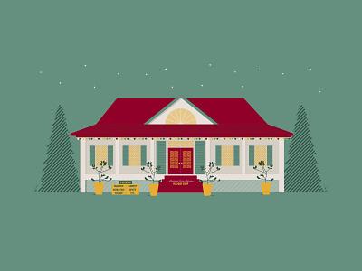 2019 Louisiana Farm Bureau Holiday Shop citrus trees trees house holiday shop christmas hoilday illustration illustrator farm bureau agriculture louisiana