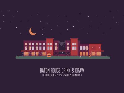 October 2018 Baton Rouge Drink & Draw spiders spiderwebs purple orange stars moon halloween illustraton white star market louisiana baton rouge