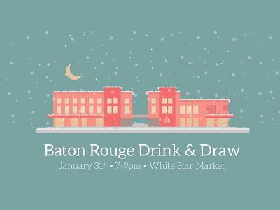 January 2019 Baton Rouge Drink & Draw moon pantone coral white star market event baton rouge snow design illustration louisiana
