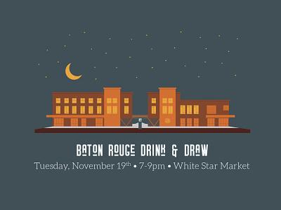 November 2019 Baton Rouge Drink & Draw night orange brown white star market thanksgiving design baton rouge illustrator louisiana