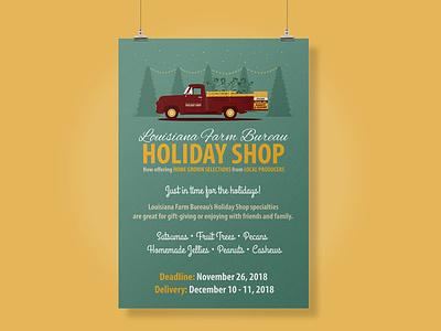 2018 Holiday Shop Promo Poster farm design illustrator agriculture louisiana pms202 ford trees gold teal holiday shop farm bureau maroon citrus truck christmas holidays