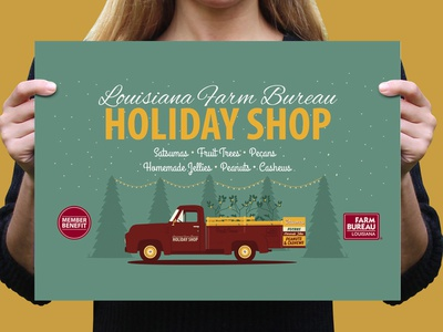 2018 Louisiana Farm Bureau Holiday Shop banner design illustrator agriculture louisiana farm bureau illustration gold teal maroon pms202 trees ford truck citrus christmas holidays