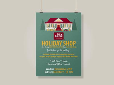 2019 Louisiana Farm Bureau Holiday Shop holiday shop holidays farm design illustrator illustration farm bureau christmas agriculture louisiana