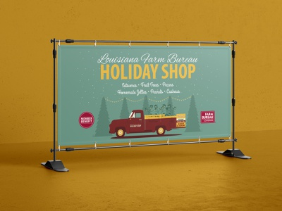 2018 Louisiana Holiday Shop Vinyl Banner holiday shop holidays farm illustration christmas illustrator farm bureau design agriculture louisiana