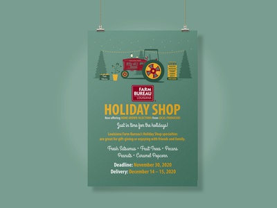 2020 Louisiana Farm Bureau Holiday Shop Poster holiday shop holidays illustration farm christmas illustrator farm bureau design agriculture louisiana
