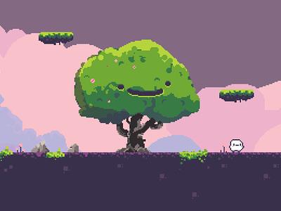 happy tree retro gamedesign pixelart