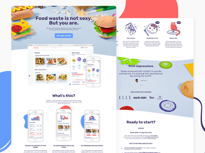 ✨Chiriba - Love food hate waste? ✨ desktop design vector ux ui sketch simple mobile interface illustration food and drink landing page character app 2d