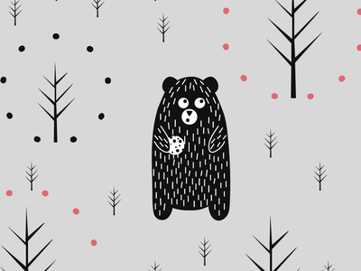 Bear In The Woods cookie character animal minimal forest grey bear