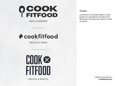 cookfitfood - logo for wellness brand branding spoon fork kettlebell fitness fit cook wellness food grey logo